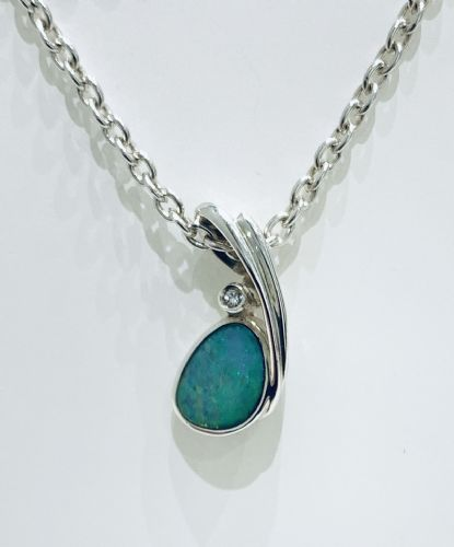 Sterling Silver Opal And White Sapphire Necklace